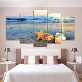 Modern Decor Canvas Painting Frame Home Wall Art 5 Pieces Beach Sights Sea Wave Shells Pictures HD Printed Modular Poster PENGDA