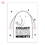 Nordic Style Cartoon Elephant Rabbit I Love You Children Room Wall Art Decor
