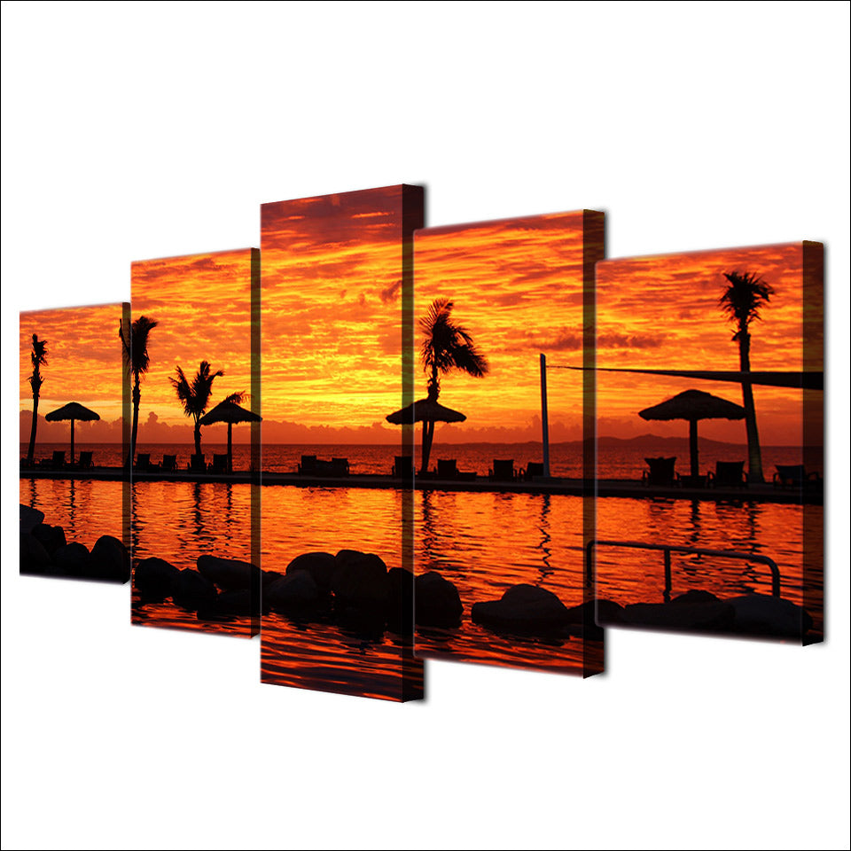 5 Panel Tropical Coast Sunset Modern Decor Canvas Wall Art HD Print