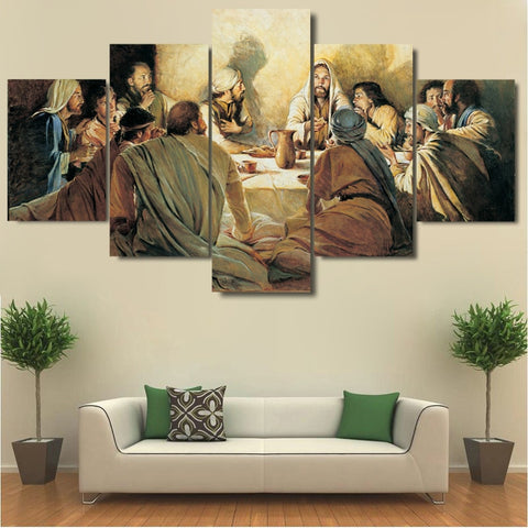 5 Panel Last Supper High Quality Canvas Painting Printed Cuadros Decoration Pictures