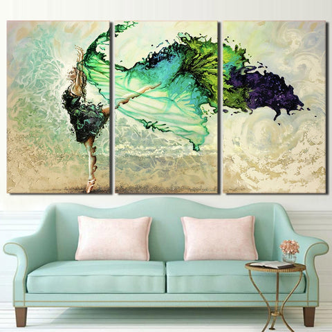 3 Panel Green Butterfly Ballerina Dancing Modern Decor Canvas Wall Art HD Print