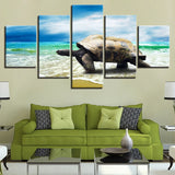 5 Panel Turtle Crawling On The Beach Modern Décor Canvas Wall Art HD Print.