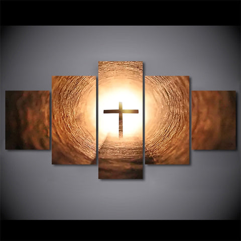 5 Panel Glowing Jesus Crosses Modern Decor Canvas Wall Art HD Print