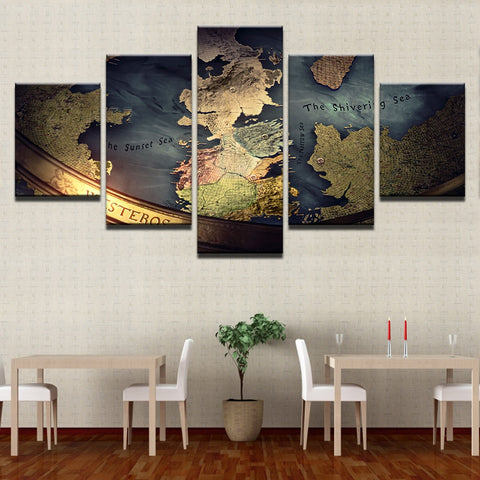 5 Panel Game of Thrones Map of the World Modern Décor Wall Art Canvas HD Print