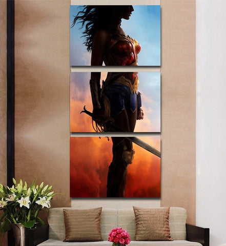 3 Panel Framed Wonder Woman Modern Décor Canvas Wall Art HD Print