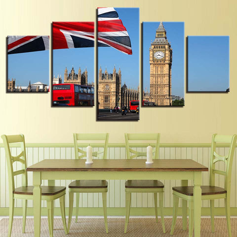 5 Panel Big Ben London Double Decker Bus Modern Décor Wall Art Canvas HD Print