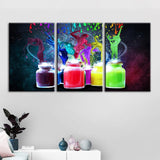 3 Panel Framed Abstract Coloured Paint Jars Modern Décor Wall Art Canvas HD Print