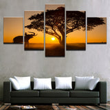 Canvas Pictures Wall Art Framework 5 Pieces Sunset Big Tree And Elephant Paintings HD Prints Landscape Posters Living Room Decor