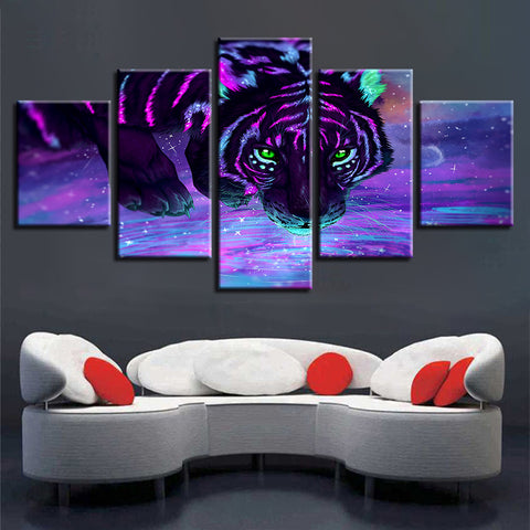 5 Panel Purple Fluorescent Tiger Modern Décor Canvas Wall Art HD Print.