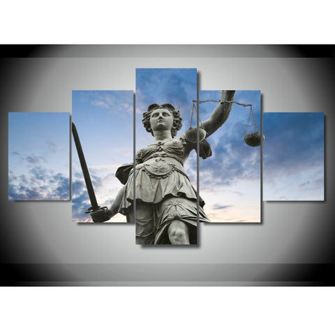 5 Panel Lady Justice Modern Décor Wall Art Canvas HD Print