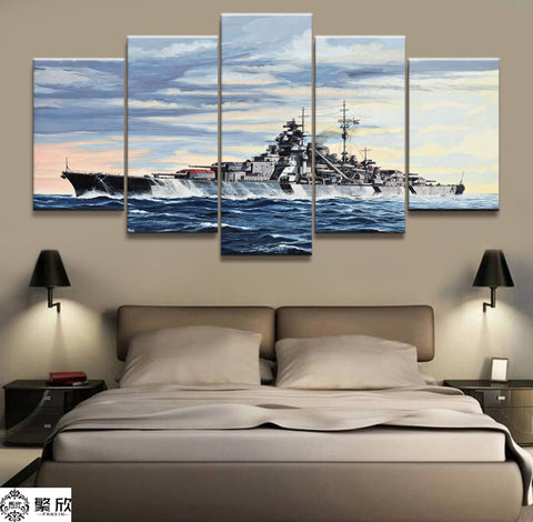 5 Panel Framed German Battleship Bismarck Modern Décor Canvas Wall Art HD Print