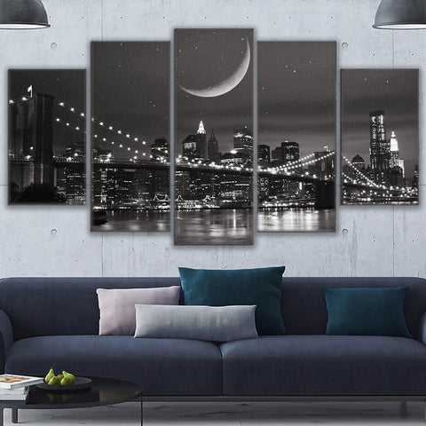 5 Panel New York Moonscape Brooklyn Bridge Modern Décor Canvas Wall Art HD Print