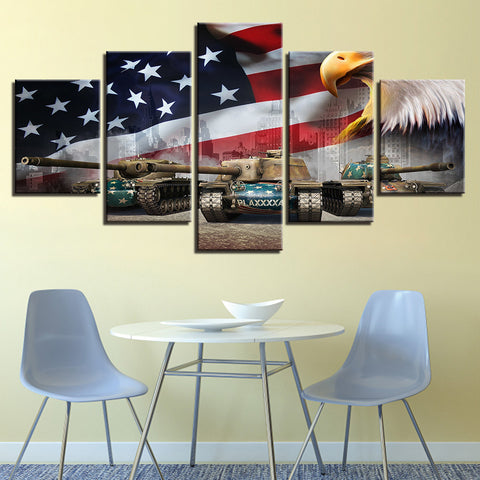 5 Panel American Flag with Eagle & Tanks Modern Decor Canvas Wall Art HD Print