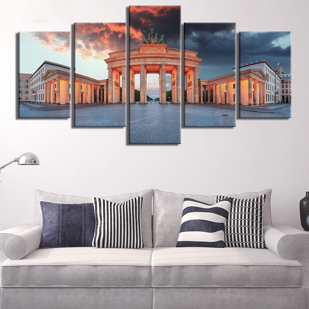 Pictures Home Decoration HD Printed Canvas Modern 5 Panel Germany Berlin Painting Brandenburg Gate Posters Living Room Frame