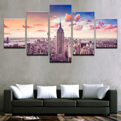 5 Panel Sunset New York City Building Cityscape Modern Décor Canvas Wall Art HD Print