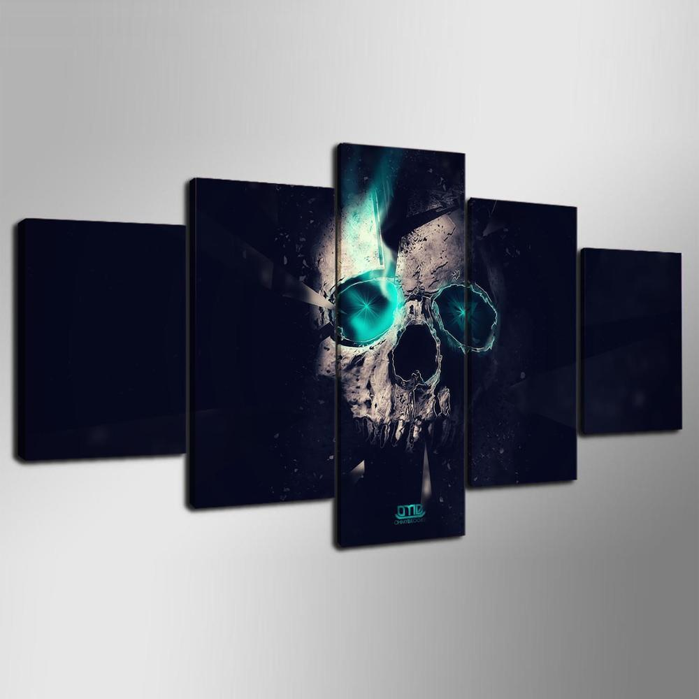 5 Panel Framed Skull Modern Décor Canvas Wall Art HD Print