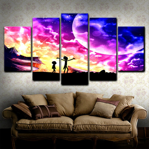 5 Panel Rick And Morty Planet Modern Decor Canvas Wall Art HD Print