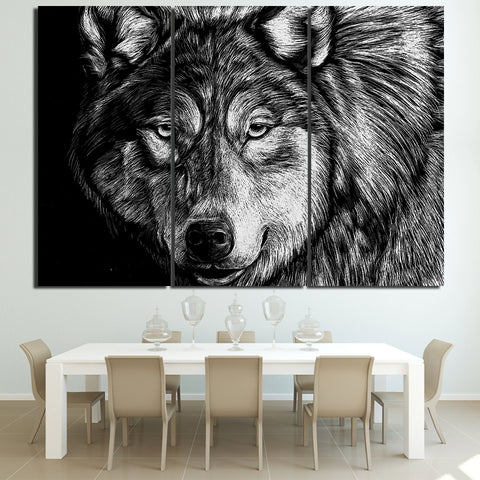 Canvas Posters Home Decor For Living Room HD Prints 3 Pieces Wolf Paintings Wall Art Black And White Animals Pictures Framework