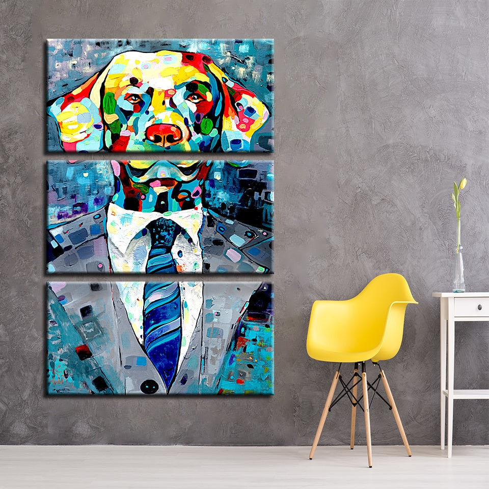 Canvas Painting Wall Art Prints 3 Pieces Graffiti Dog Pictures Living Room Watercolor Animal Gentleman Poster Home Decor Framed