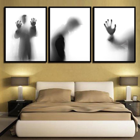 Nordic Watercolor Black And White Man Shadow Home Decoration Modern Decor Canvas Wall Art HD Print