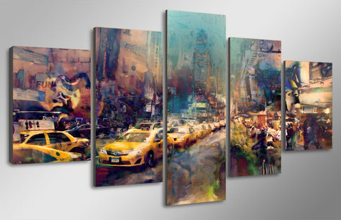 5 Panel Colorful City Abstract Painting Modern Décor Wall Art Canvas HD Print