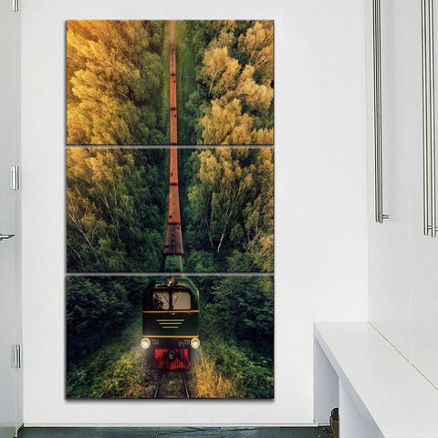 3 Panel Framed Forrest Freight Train Modern Décor Canvas Wall Art HD Print