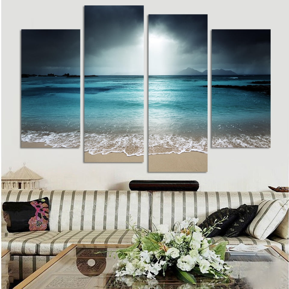 4 Panel Sea Scenery With Beach Modern Decor Canvas Wall Art