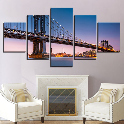 5 Panel Manhattan Bridge Sunset New York Modern Décor Wall Art Canvas HD Print