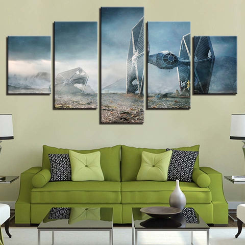 5 Panel Star Wars Downed Tie Fighter Modern Decor Canvas Wall Art HD Print