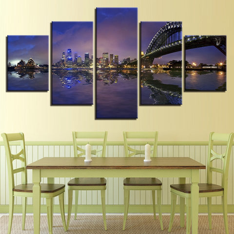 Home Decor Canvas Pictures HD Prints Paintings 5 Pieces Sydney Harbour Bridge City Nightscape Poster Modular Wall Art Framework