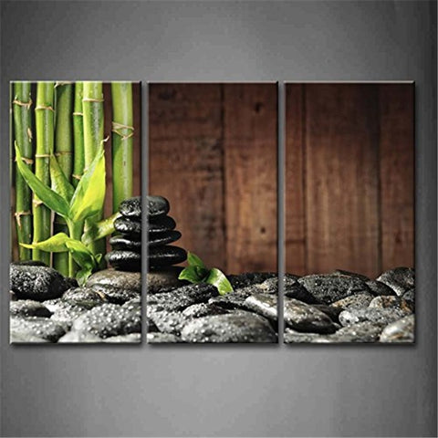 3 Pc Bamboo Stones Candle Modern Canvas Wall Art Print