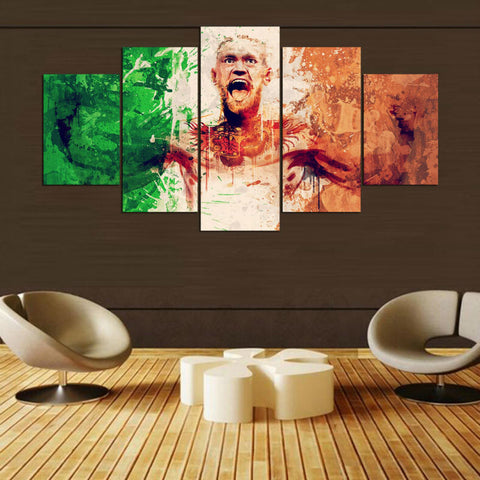 5 Panel Martial Artist Conor McGregor Modern Decor Canvas Wall Art HD Print