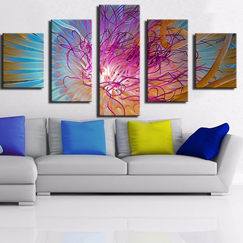 5 Panel Abstract  Flower Modern Decor Canvas Wall Art HD Print