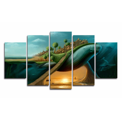 5 Panel Cartoon Whale Wall Art Modern Decor Wall Art