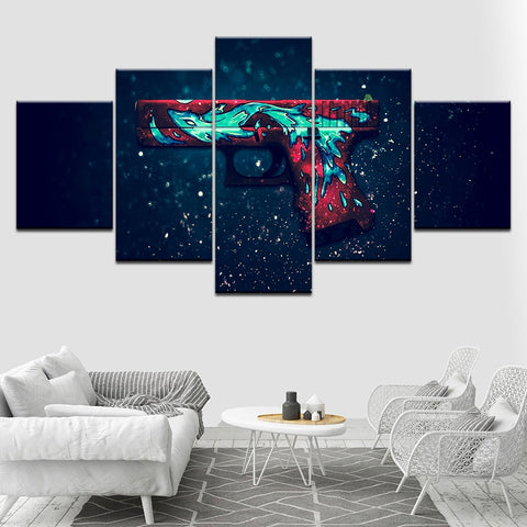 5 Panel Colorful Glock Handgun Modern Décor Wall Art Canvas HD Print