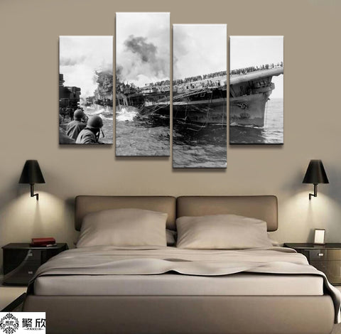 4 Panel Framed WW2 USS Franklin CV-13 Modern Décor Canvas Wall Art HD Print
