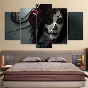 5 Panel Framed Day of the Dead Modern Décor Canvas Wall Art HD Print