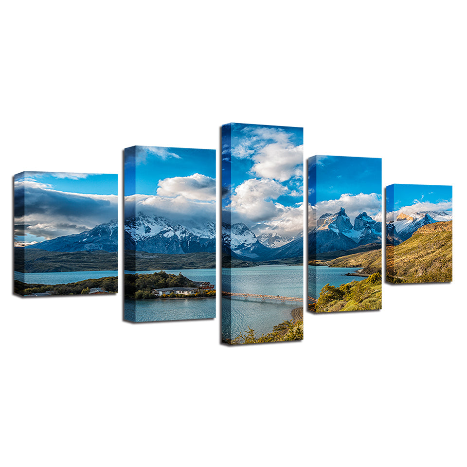5 Pieces Mountains And Rivers Pictures Torres del Paine National Park Poster Decor