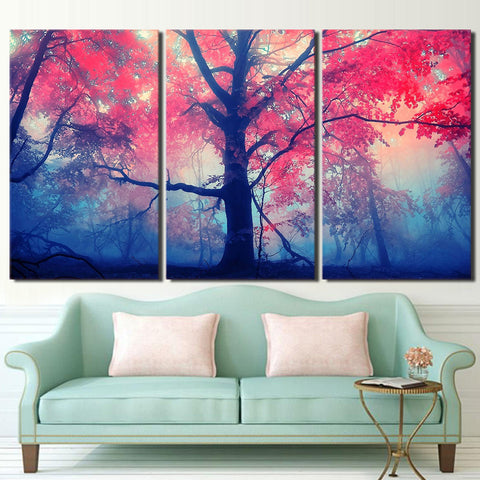 3 Pieces Red Pink Trees Maple Landscape Modern Decor Canvas Wall Art HD Print