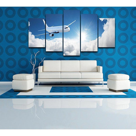 5 Panel Passenger Plane Landscape Modern Décor Wall Art Canvas HD Print