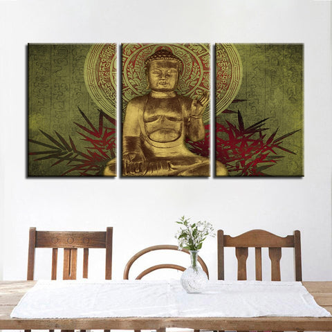 3 Panel Gold Gautama Buddha Statue Modern Decor Canvas Wall Art HD Print