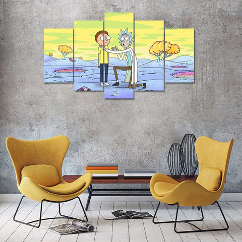 5 Panel Rick and Morty Modern Decor Canvas Wall Art HD Print