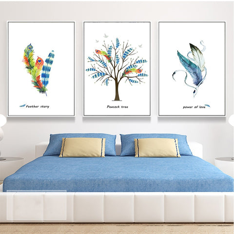 Nordic Style Feather Tree Watercolor Modern Decor Canvas Wall Art HD Print