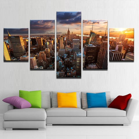 5 Panel New York City Building Sunset Landscape Modern Décor Canvas Wall Art HD Print
