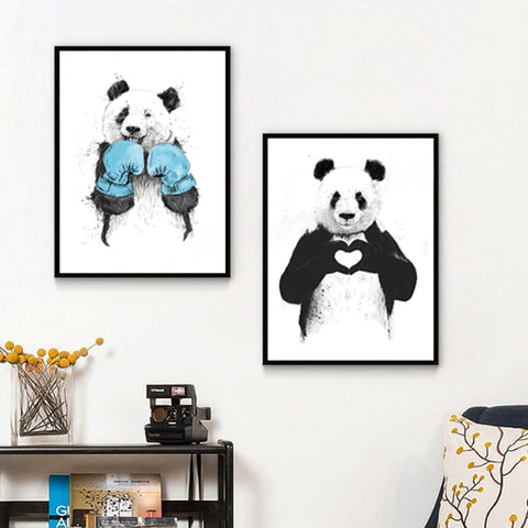Nordic Style Cartoon Panda Modern Decor Canvas Wall Art HD Print