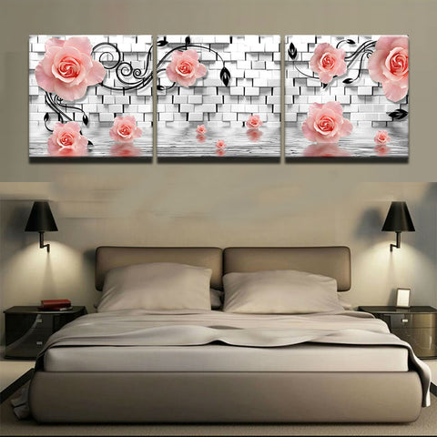 3 Panel Framed Pink Roses & White Wall Modern Decor Canvas Wall Art HD Print