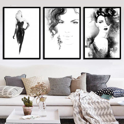 Nordic Black White Watercolor Girl Modern Decor Canvas Wall Art HD Print