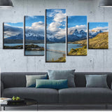 5 Panel Torres del Paine National Park Modern Decor Canvas Wall Art HD Print