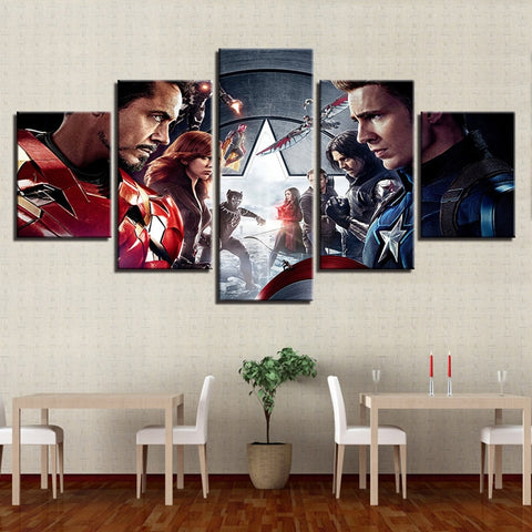 5 Panel Framed Avengers Infinity War Modern Décor Canvas Wall Art HD Print