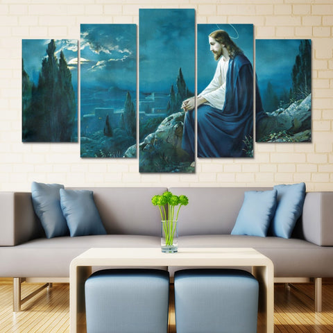 5 Panel Jesus Painting Poster Wall Picture Modern Decor Canvas Wall Art HD Print